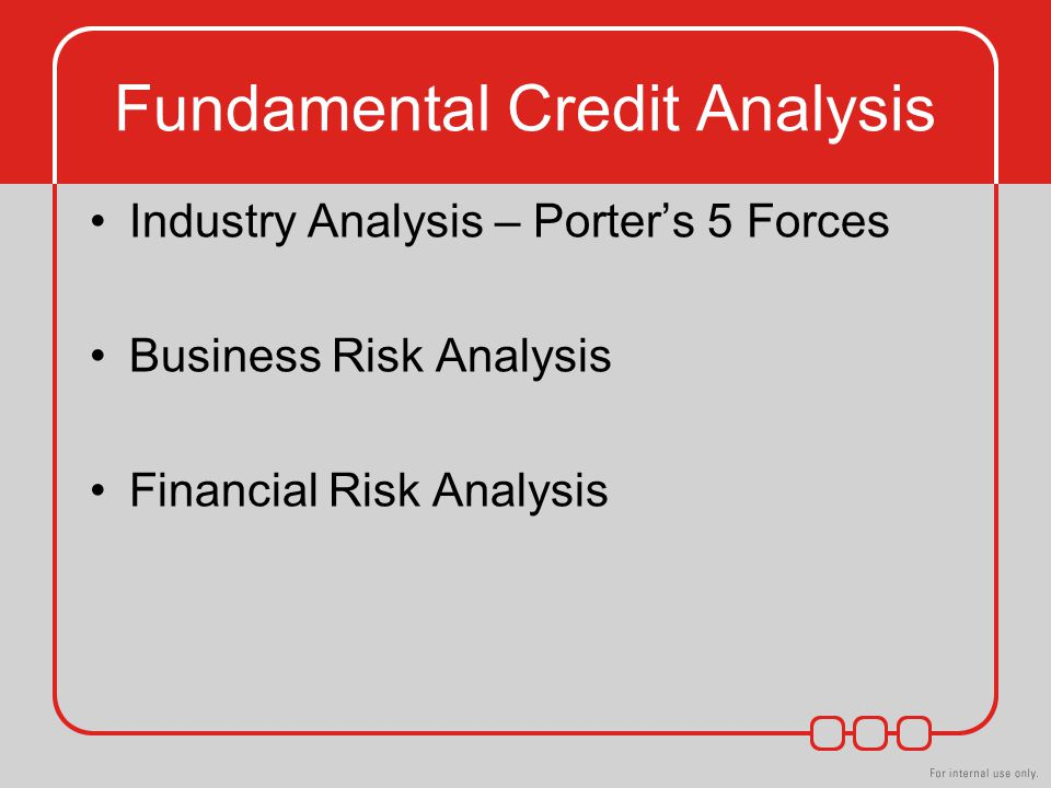 Fundamental Credit Analysis Industry Analysis – Porter's 5 Forces Business Risk Analysis Financial Risk Analysis