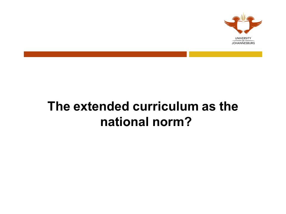 The extended curriculum as the national norm
