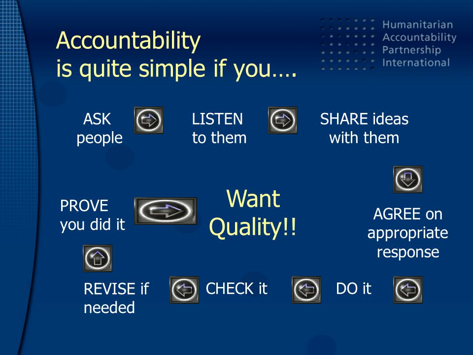 Accountability is quite simple if you….