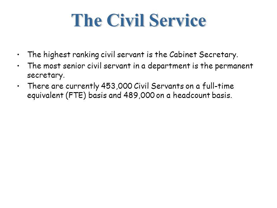 The Civil Service The highest ranking civil servant is the Cabinet Secretary.