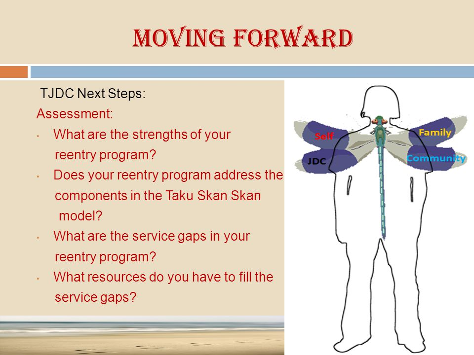 Moving Forward TJDC Next Steps: Assessment: What are the strengths of your reentry program? Does your reentry program address the components in the Ta