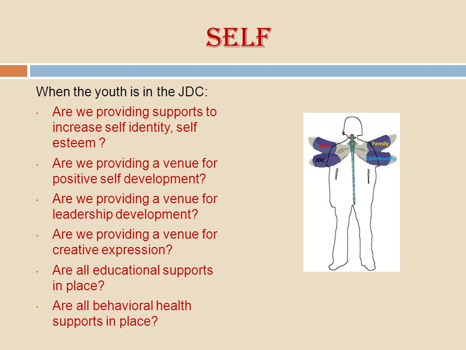 Self When the youth is in the JDC: Are we providing supports to increase self identity, self esteem ? Are we providing a venue for positive self devel