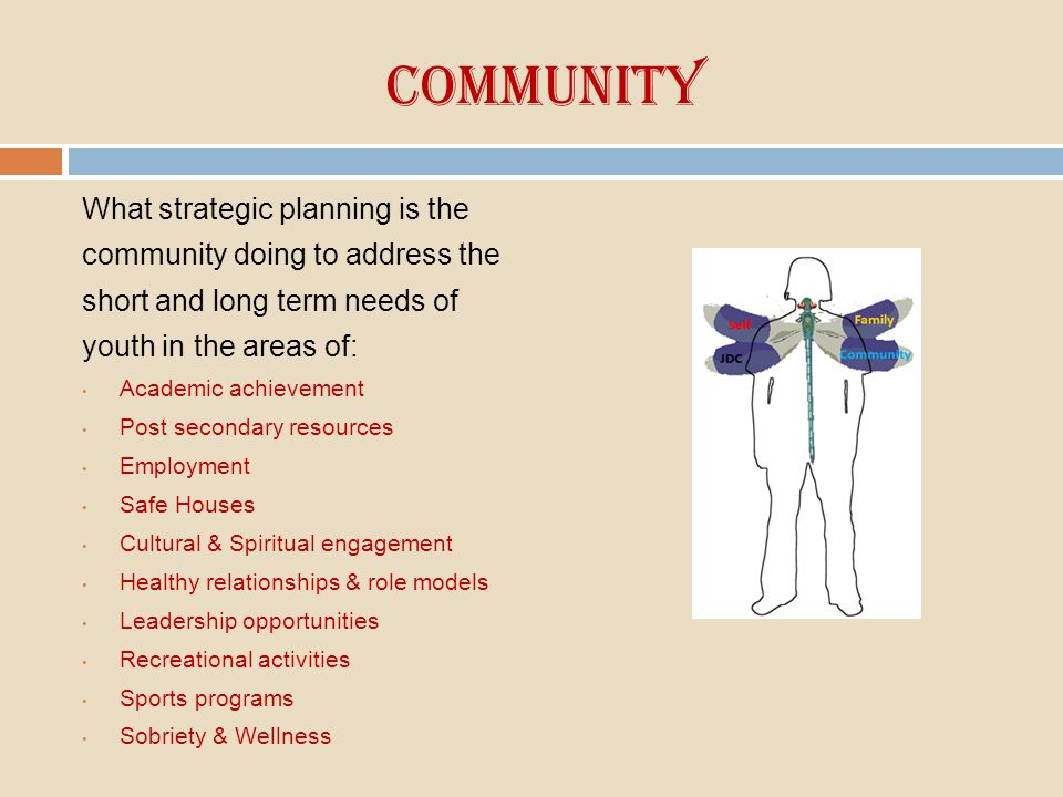 Community What strategic planning is the community doing to address the short and long term needs of youth in the areas of: Academic achievement Post
