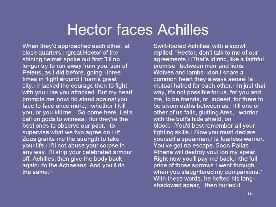 16 Hector faces Achilles When they'd approached each other, at close quarters, great Hector of the shining helmet spoke out first: