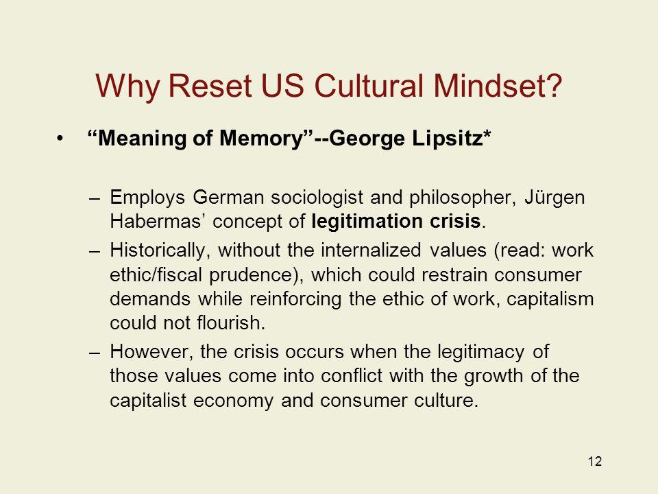 "Why Reset US Cultural Mindset? ""Meaning of Memory""--George Lipsitz* –Employs German sociologist and philosopher, Jürgen Habermas' concept of legitimat"