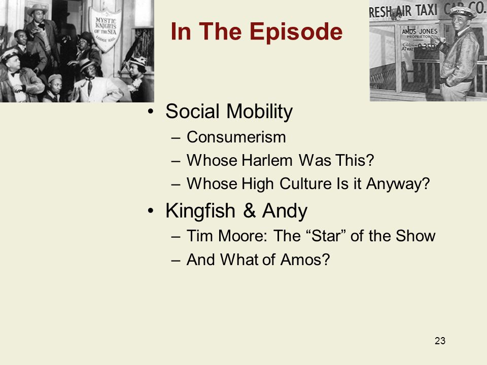 In The Episode Social Mobility –Consumerism –Whose Harlem Was This.