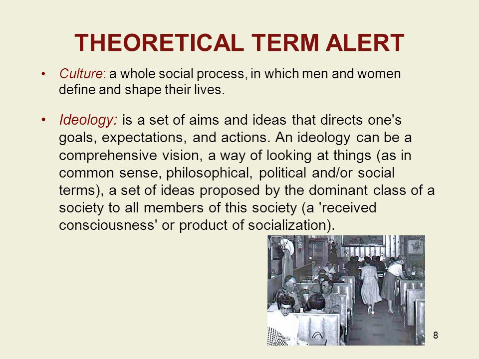 THEORETICAL TERM ALERT Culture: a whole social process, in which men and women define and shape their lives.