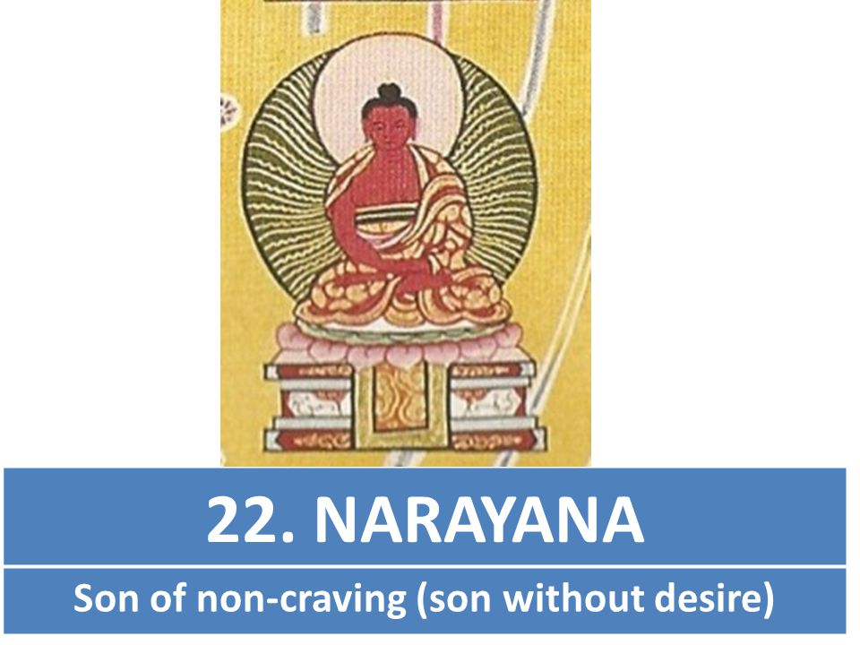 22. NARAYANA Son of non-craving (son without desire)