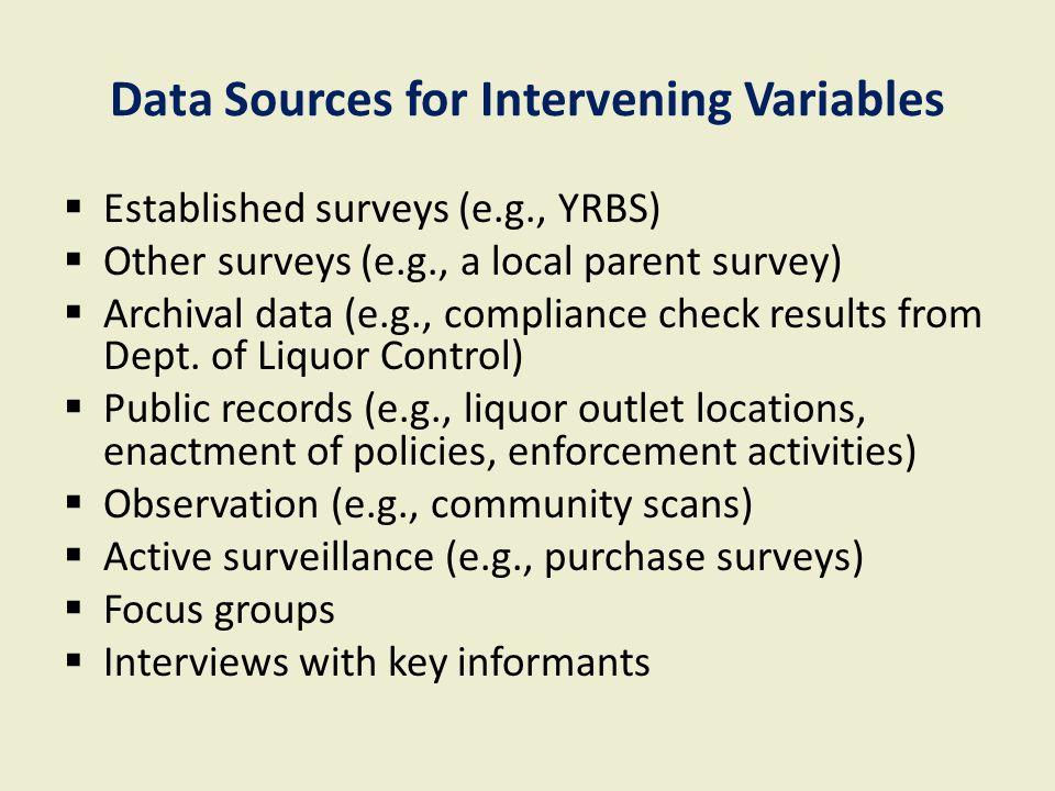 Data Sources for Intervening Variables  Established surveys (e.g., YRBS)  Other surveys (e.g., a local parent survey)  Archival data (e.g., complia