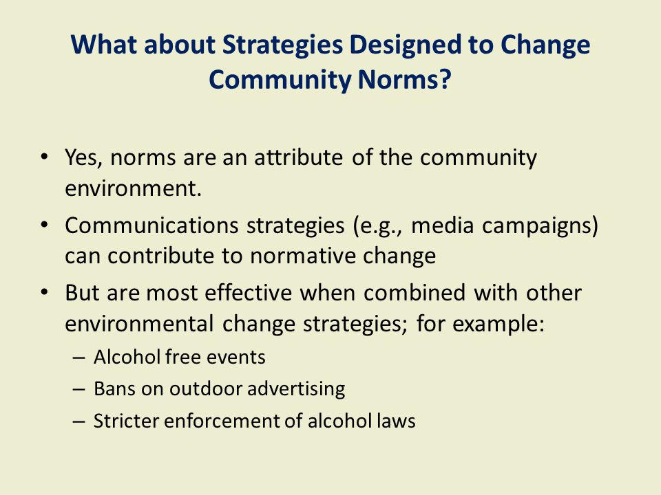 What about Strategies Designed to Change Community Norms.