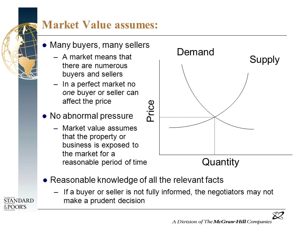 Market Value assumes: Many buyers, many sellers –A market means that there are numerous buyers and sellers –In a perfect market no one buyer or seller can affect the price No abnormal pressure –Market value assumes that the property or business is exposed to the market for a reasonable period of time Quantity Demand Price Supply Reasonable knowledge of all the relevant facts –If a buyer or seller is not fully informed, the negotiators may not make a prudent decision