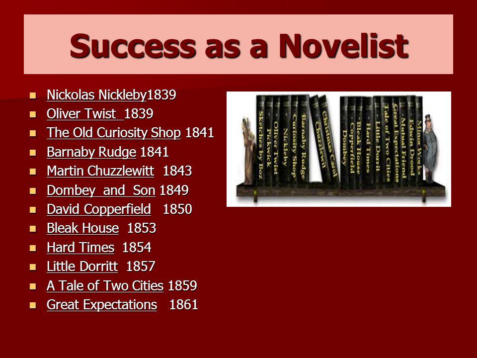 Success as a Novelist Nickolas Nickleby1839 Nickolas Nickleby1839 Oliver Twist 1839 Oliver Twist 1839 The Old Curiosity Shop 1841 The Old Curiosity Sh