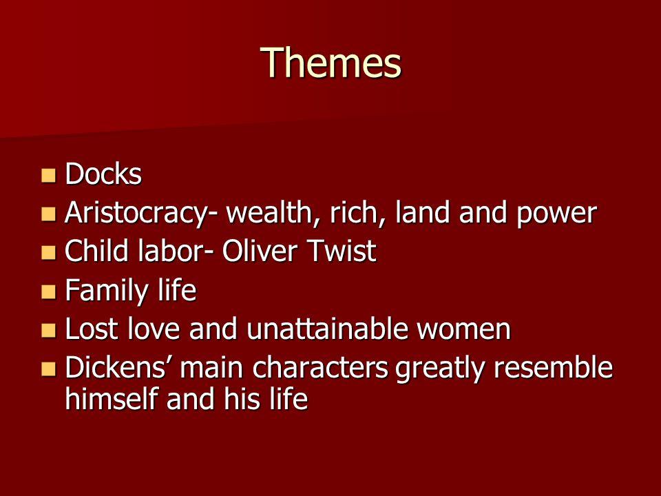 Themes Docks Docks Aristocracy- wealth, rich, land and power Aristocracy- wealth, rich, land and power Child labor- Oliver Twist Child labor- Oliver T