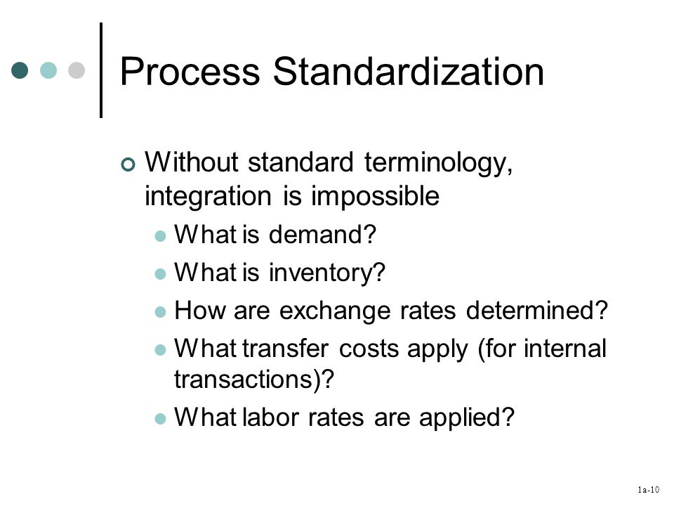 1a-10 Process Standardization Without standard terminology, integration is impossible What is demand.