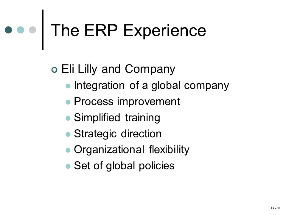 1a-20 The ERP Experience Eli Lilly and Company Integration of a global company Process improvement Simplified training Strategic direction Organizational flexibility Set of global policies