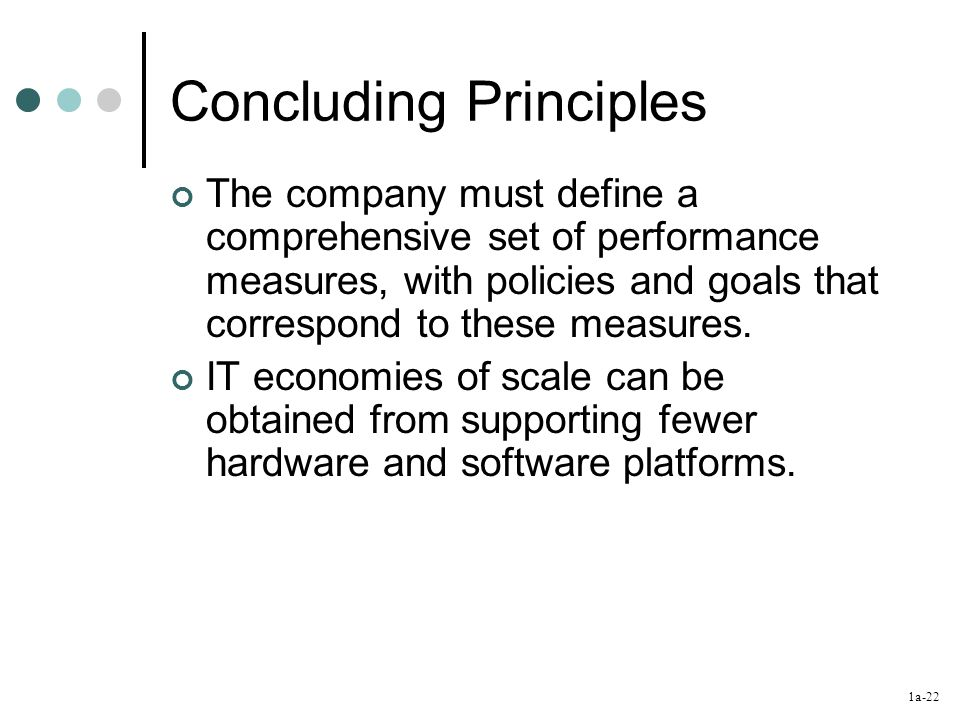 1a-22 Concluding Principles The company must define a comprehensive set of performance measures, with policies and goals that correspond to these measures.