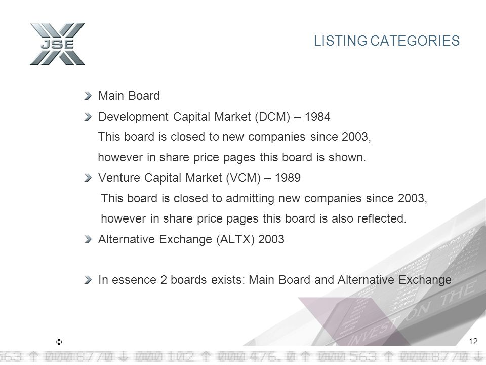 © 12 LISTING CATEGORIES Main Board Development Capital Market (DCM) – 1984 This board is closed to new companies since 2003, however in share price pages this board is shown.