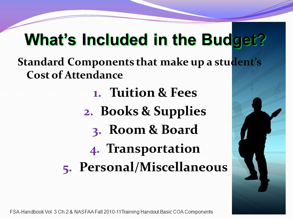 What's Included in the Budget. Standard Components that make up a student's Cost of Attendance 1.