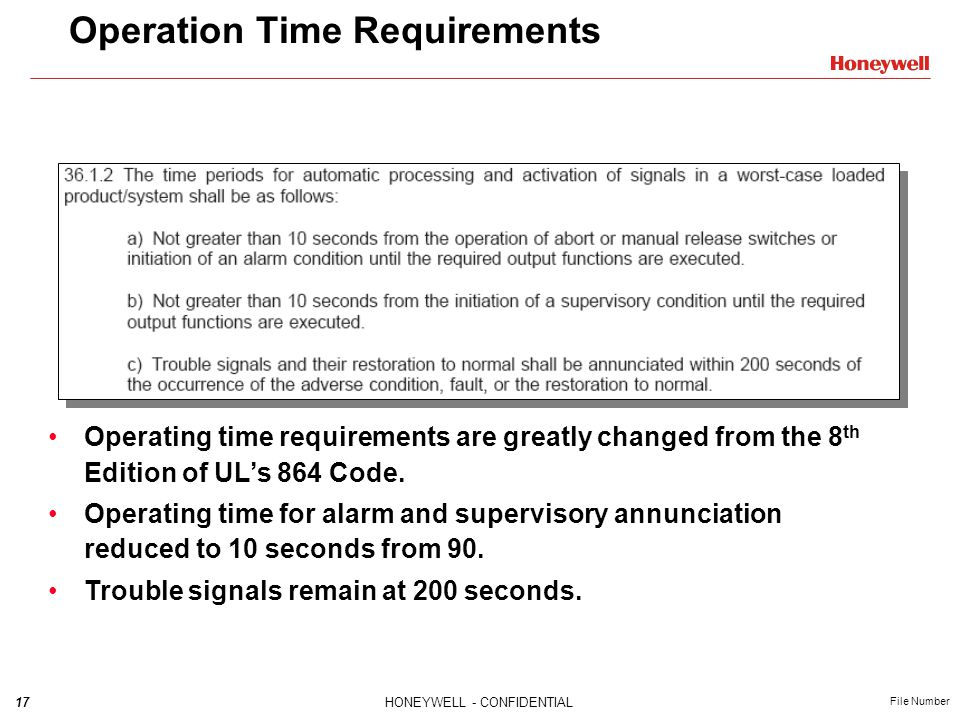 17HONEYWELL - CONFIDENTIAL File Number Operation Time Requirements Operating time requirements are greatly changed from the 8 th Edition of UL's 864 Code.