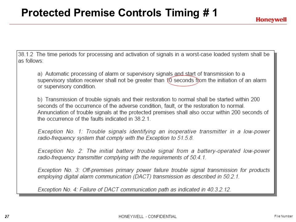 27HONEYWELL - CONFIDENTIAL File Number Protected Premise Controls Timing # 1