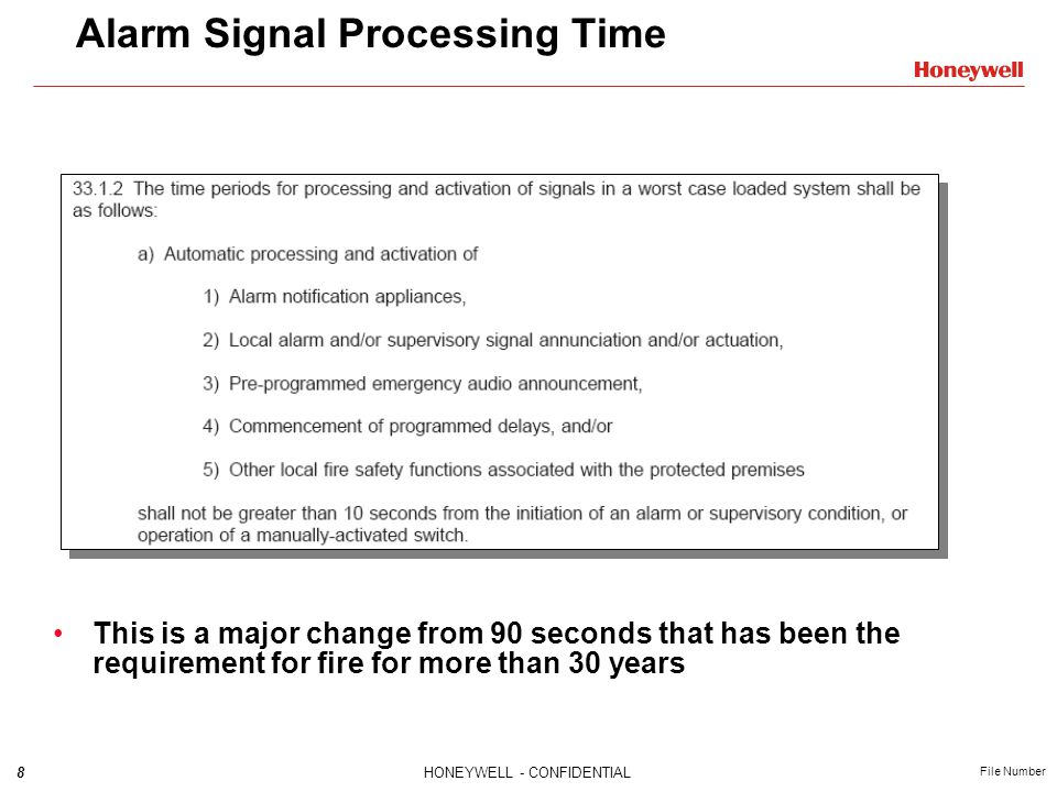 8HONEYWELL - CONFIDENTIAL File Number Alarm Signal Processing Time This is a major change from 90 seconds that has been the requirement for fire for more than 30 years