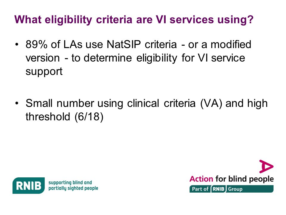 NatSIP criteria AND professional judgement …a modified version of the Natsip criteria 2013…fits better with our way of working.