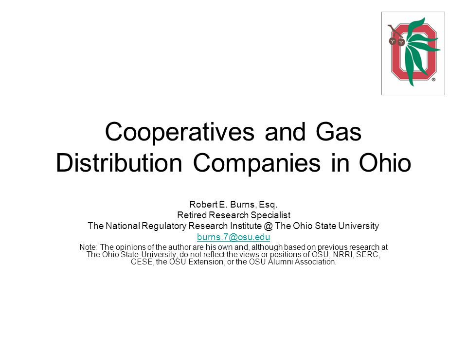 Cooperatives and Gas Distribution Companies in Ohio Robert E.