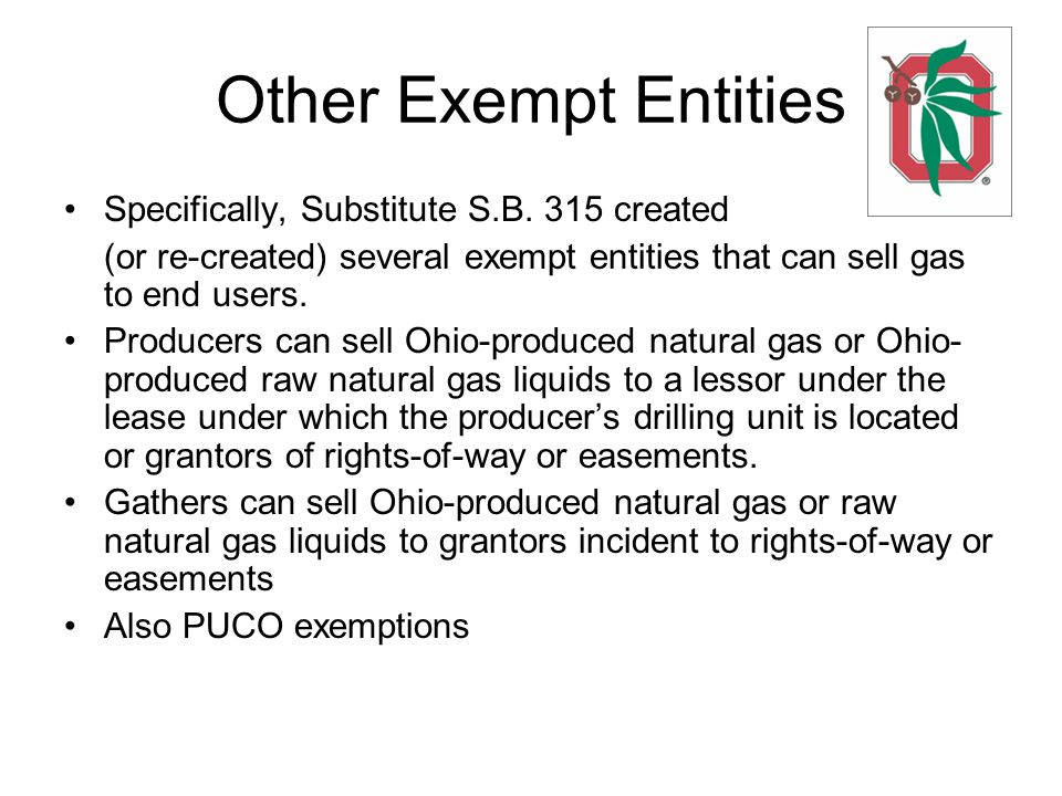 Other Exempt Entities Specifically, Substitute S.B.