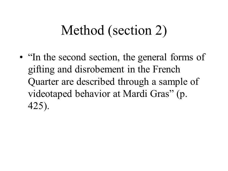 Method (section 2) Defining temporal and spatial parameters.