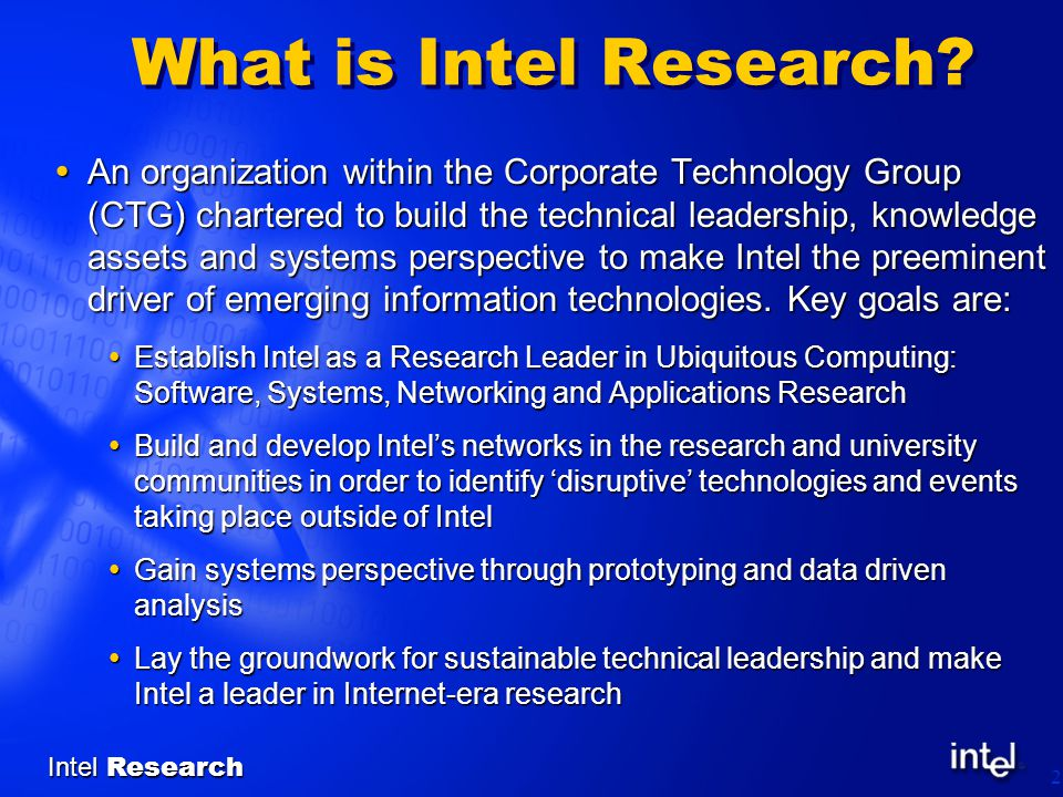 Intel Research 2 What is Intel Research.