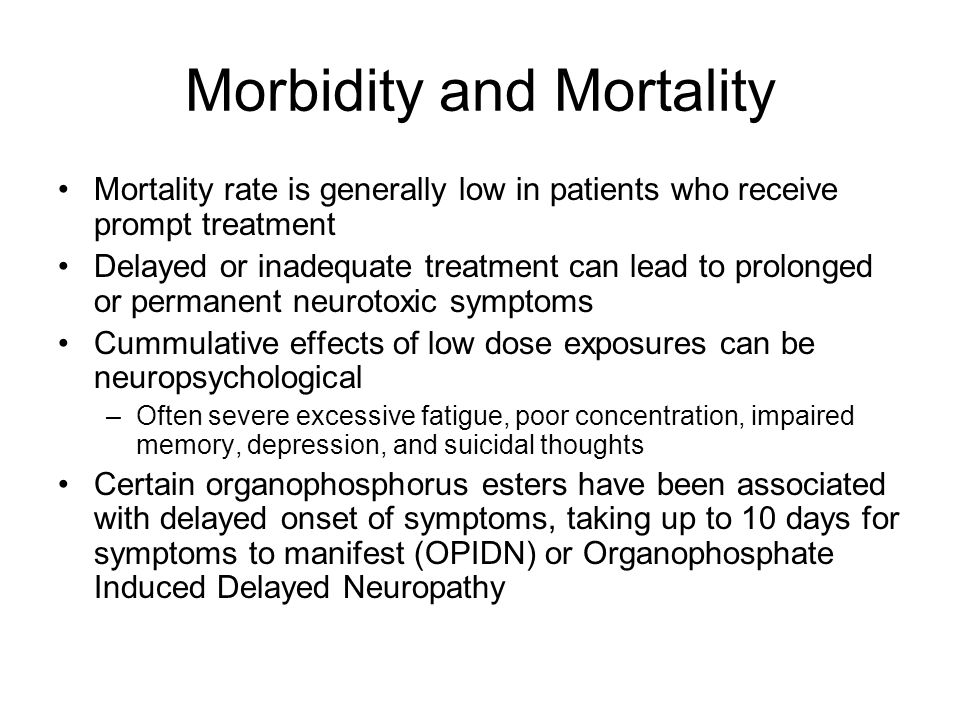 Morbidity and Mortality Mortality rate is generally low in patients who receive prompt treatment Delayed or inadequate treatment can lead to prolonged