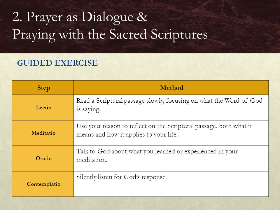 GUIDED EXERCISE 2. Prayer as Dialogue & Praying with the Sacred Scriptures Step Method Lectio Read a Scriptural passage slowly, focusing on what the W