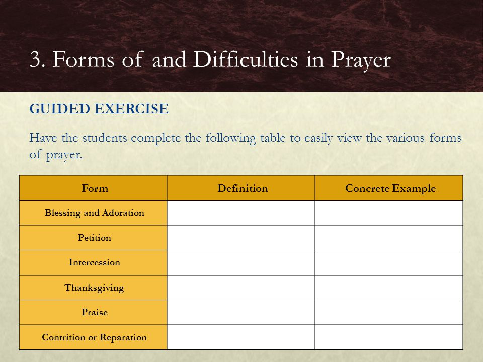 GUIDED EXERCISE Have the students complete the following table to easily view the various forms of prayer. 3. Forms of and Difficulties in Prayer Form