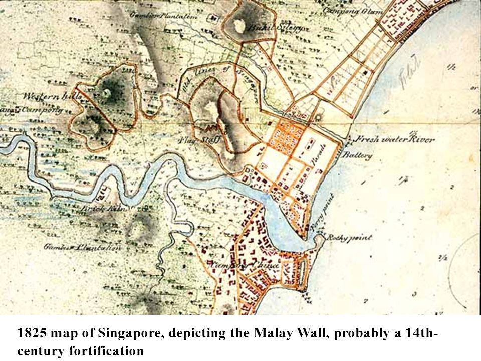 1825 map of Singapore, depicting the Malay Wall, probably a 14th- century fortification
