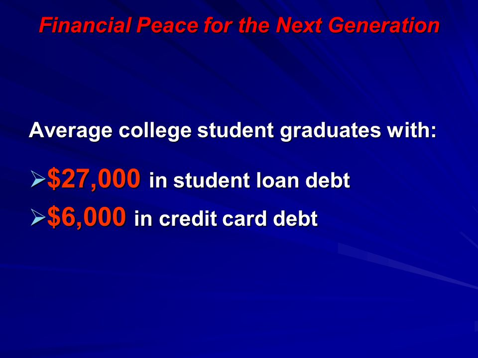 Financial Peace for the Next Generation Average college student graduates with:  $27,000 in student loan debt  $6,000 in credit card debt