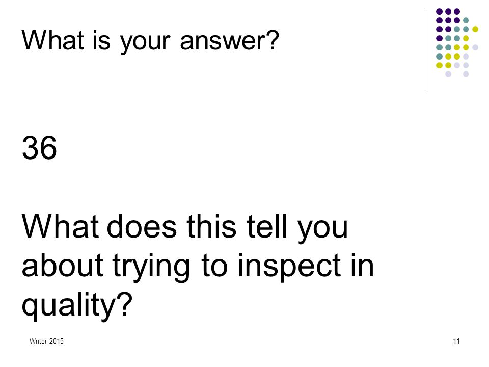 Wnter 201511 What is your answer? 36 What does this tell you about trying to inspect in quality?