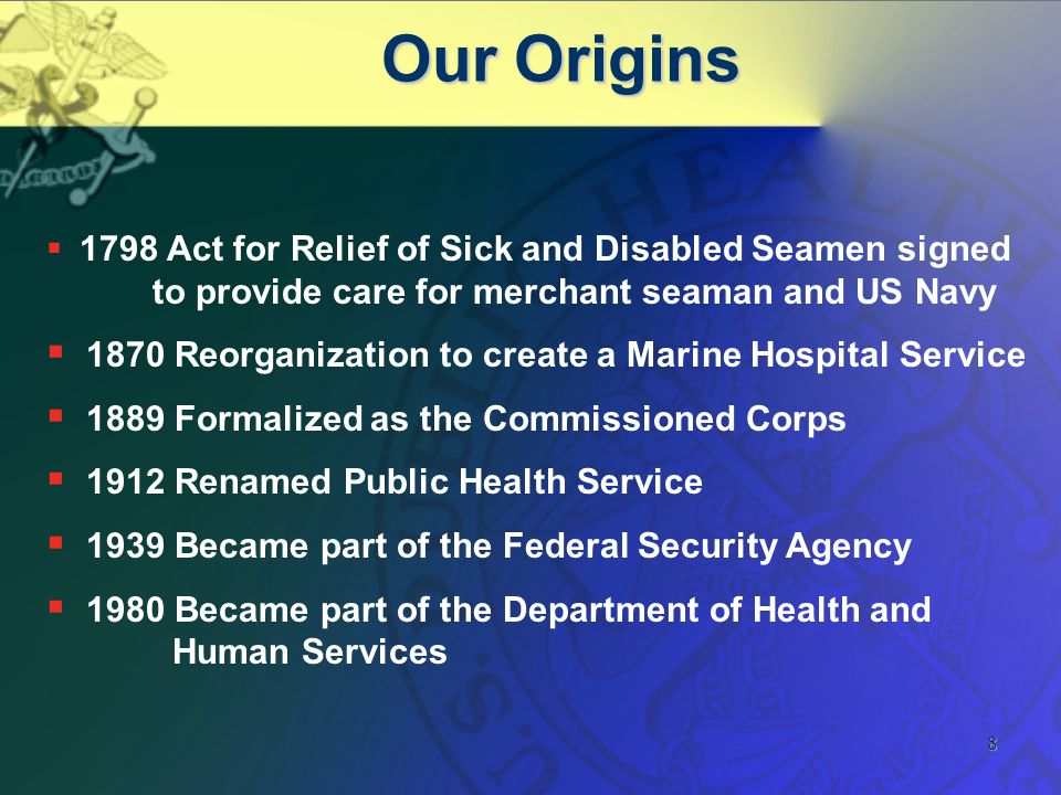 9 USPHS Seal Used to symbolize trade or commerce (PHS relationship with merchant seaman and maritime industry) Later became symbol of medicine Fouled Anchor = seaman in distress Caduceus (winged wand with 2 serpents intertwined)