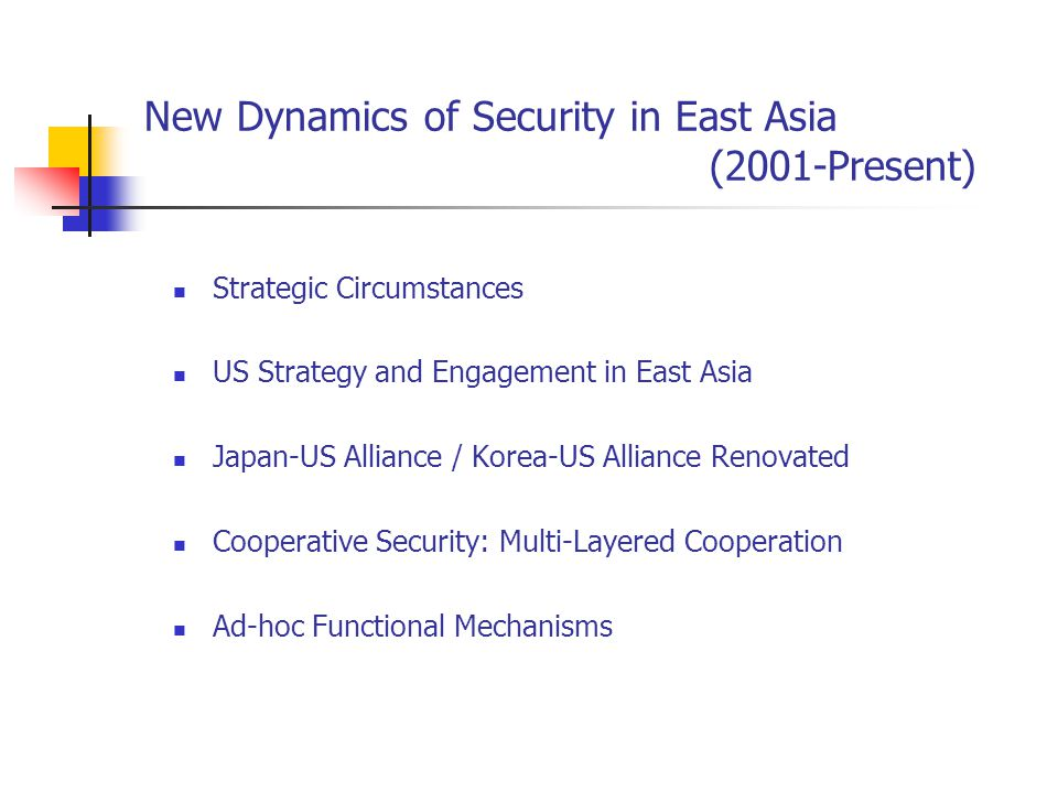 New Dynamics of Security in East Asia (2001-Present) Strategic Circumstances US Strategy and Engagement in East Asia Japan-US Alliance / Korea-US Alliance Renovated Cooperative Security: Multi-Layered Cooperation Ad-hoc Functional Mechanisms