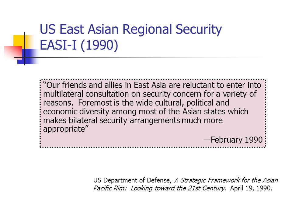 US East Asian Regional Security EASR (1995) US Department of Defense, The United States Security Strategy for East Asia-Pacific Region, February 1995 Some in the United States have been reluctant to enter into regional security dialogues in Asia, but I see this as a way to supplement our alliances and forward military presence, not to supplant them ―February 1995