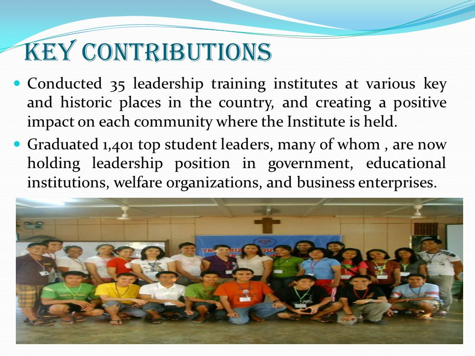 Key Contributions Conducted 35 leadership training institutes at various key and historic places in the country, and creating a positive impact on eac
