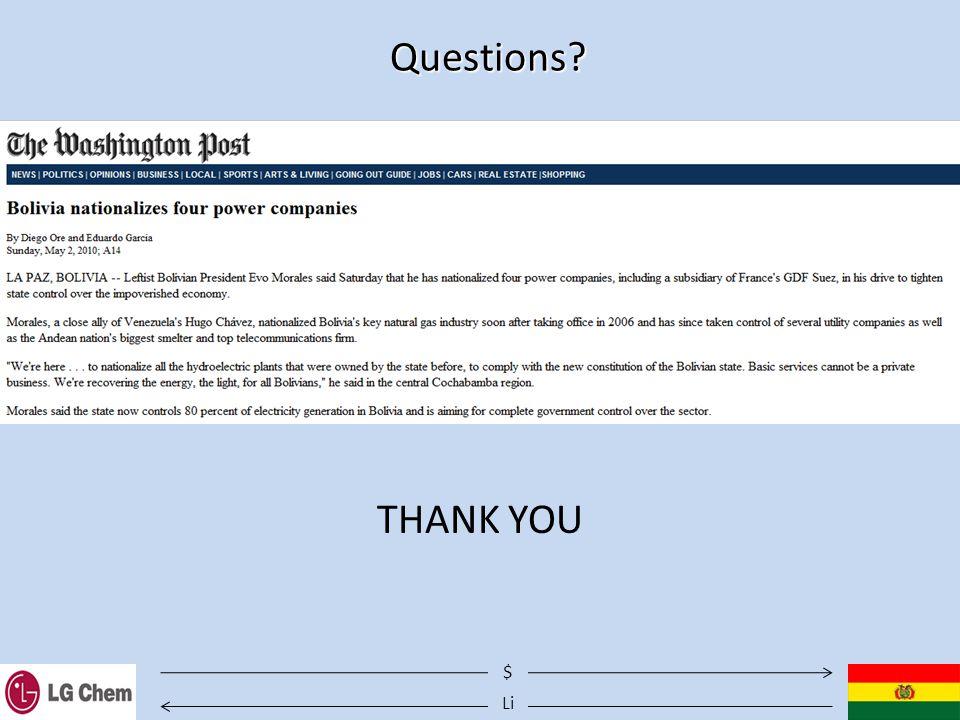 Li $ Questions? THANK YOU