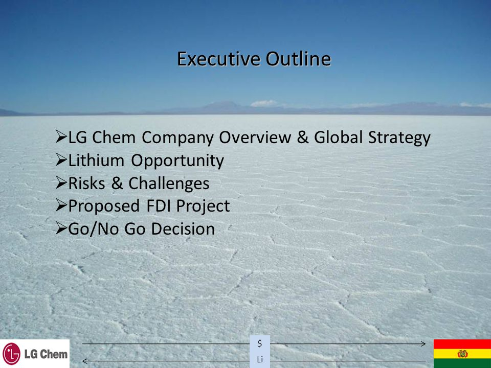 Li $ Executive Outline  LG Chem Company Overview & Global Strategy  Lithium Opportunity  Risks & Challenges  Proposed FDI Project  Go/No Go Decision