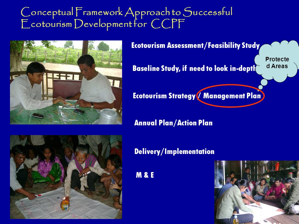 Baseline Study, if need to look in-depth Ecotourism Assessment/Feasibility Study Ecotourism Strategy / Management Plan Annual Plan/Action Plan M & E Delivery/Implementation Conceptual Framework Approach to Successful Ecotourism Development for CCPF Protecte d Areas