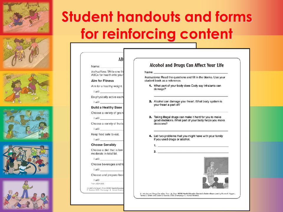 Student handouts and forms for reinforcing content