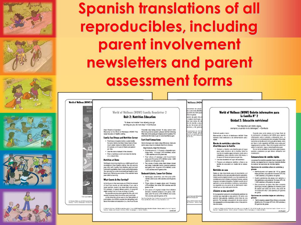 Spanish translations of all reproducibles, including parent involvement newsletters and parent assessment forms