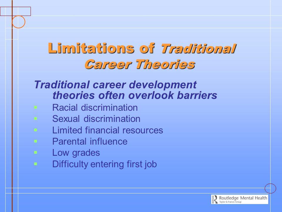 Limitations of Traditional Career Theories Limitations of Traditional Career Theories Traditional career development theories often overlook barriers