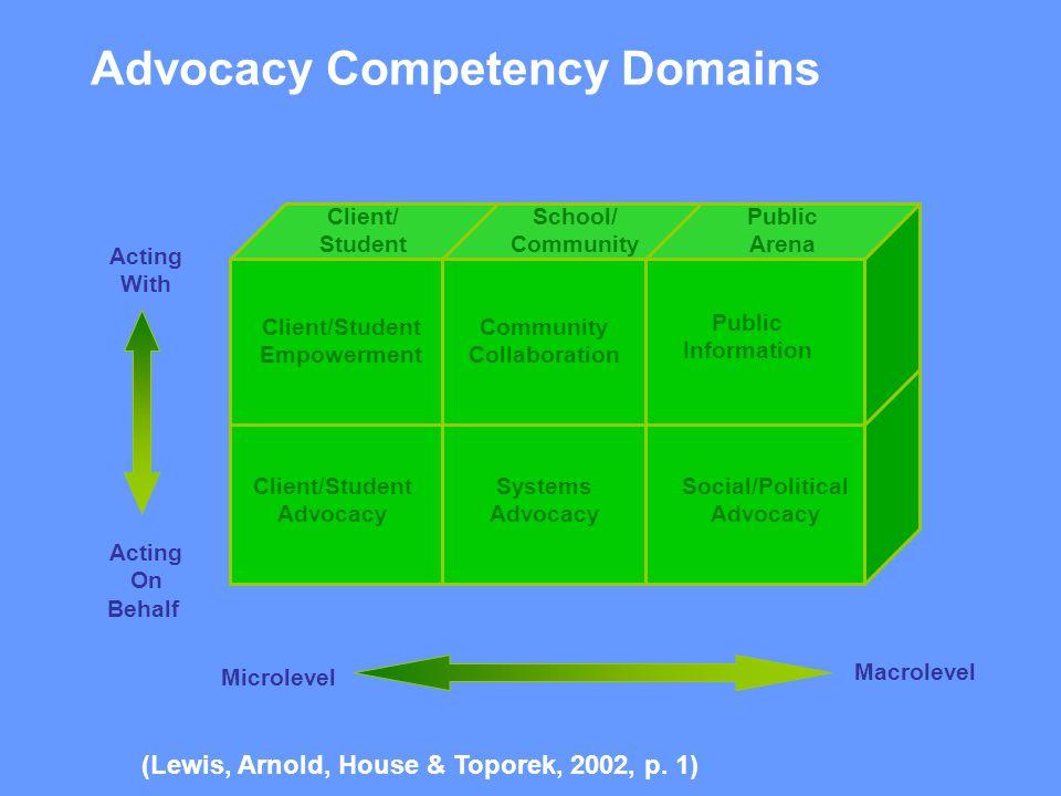 Client/ Student School/ Community Public Arena Client/Student Empowerment Community Collaboration Public Information Social/Political Advocacy Client/
