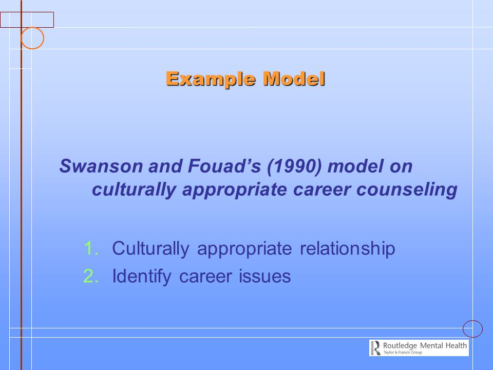 Example Model Example Model Swanson and Fouad's (1990) model on culturally appropriate career counseling 1. 1.Culturally appropriate relationship 2. 2