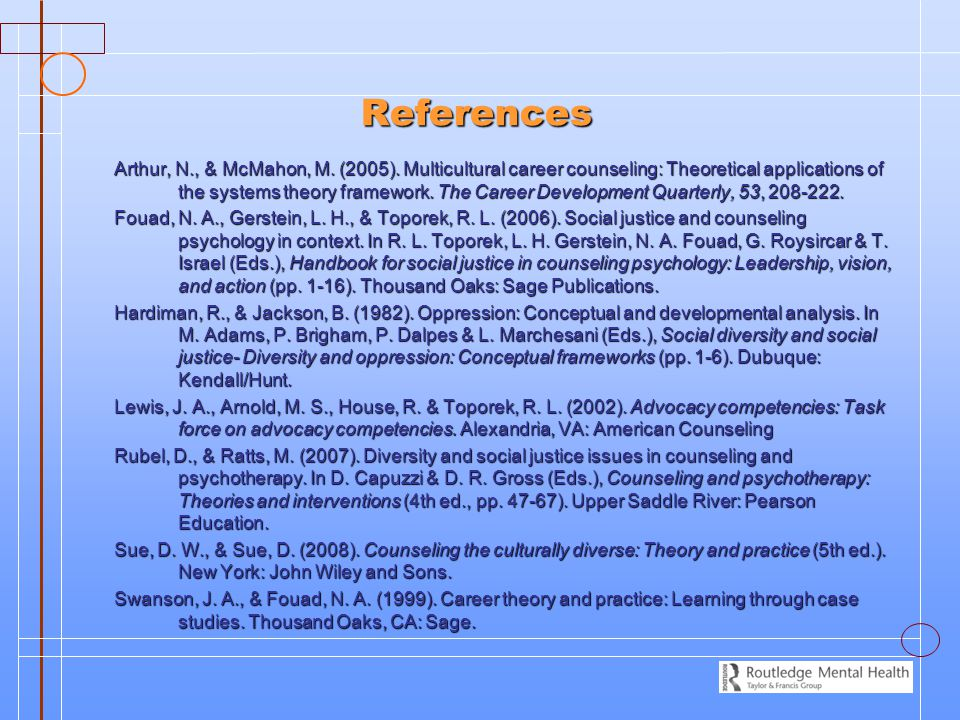 References References Arthur, N., & McMahon, M. (2005). Multicultural career counseling: Theoretical applications of the systems theory framework. The
