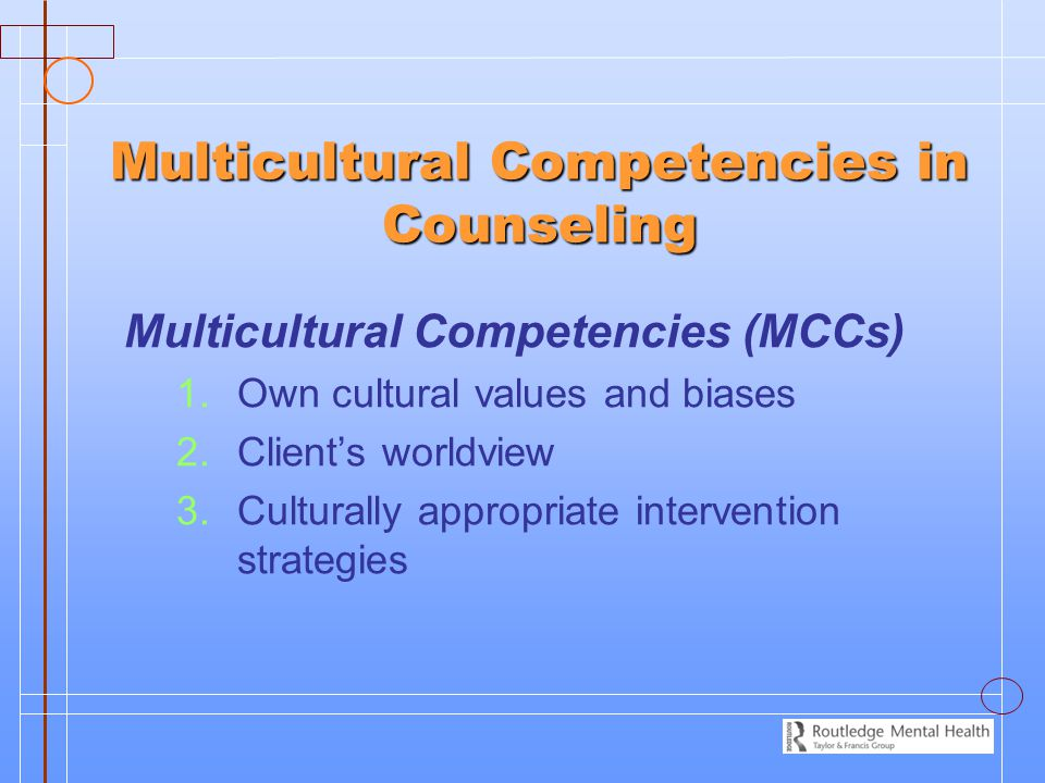 Multicultural Competencies in Counseling Multicultural Competencies (MCCs) 1. 1.Own cultural values and biases 2. 2.Client's worldview 3. 3.Culturally